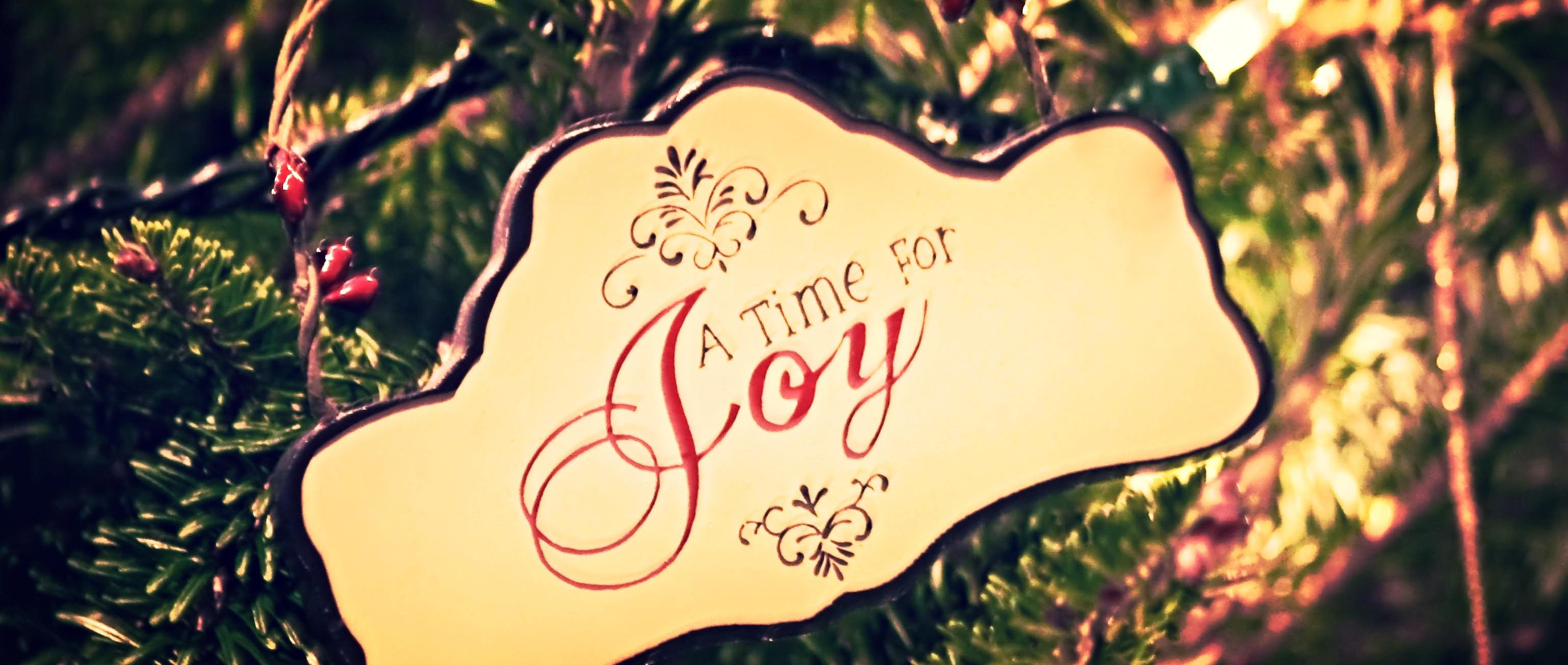 "A Christmas ornament that says ""The Season for Joy"""