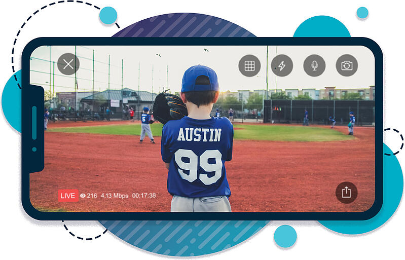 iPhone live streaming and recording a youth baseball game
