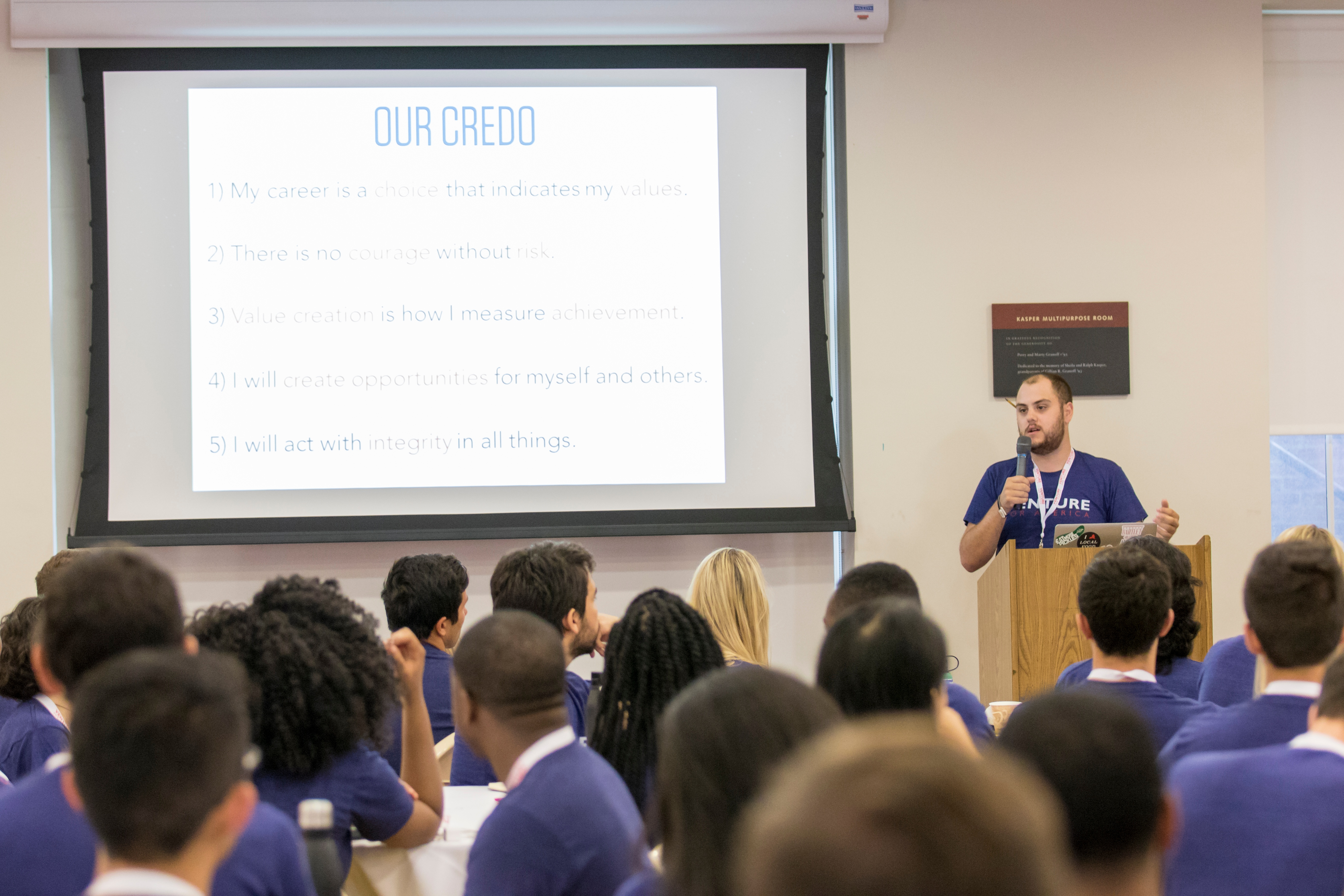 A VFA Fellow gives a presentation at Training Camp