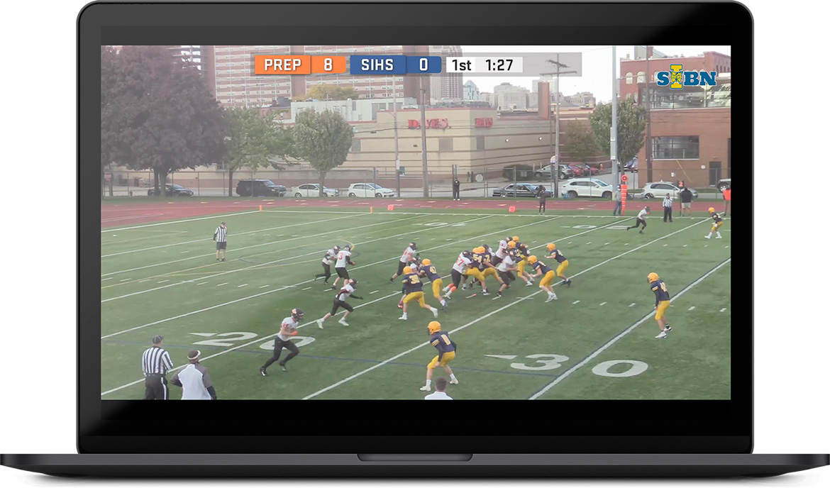 Image of a live stream showing the scoreboard and play clock on a football game