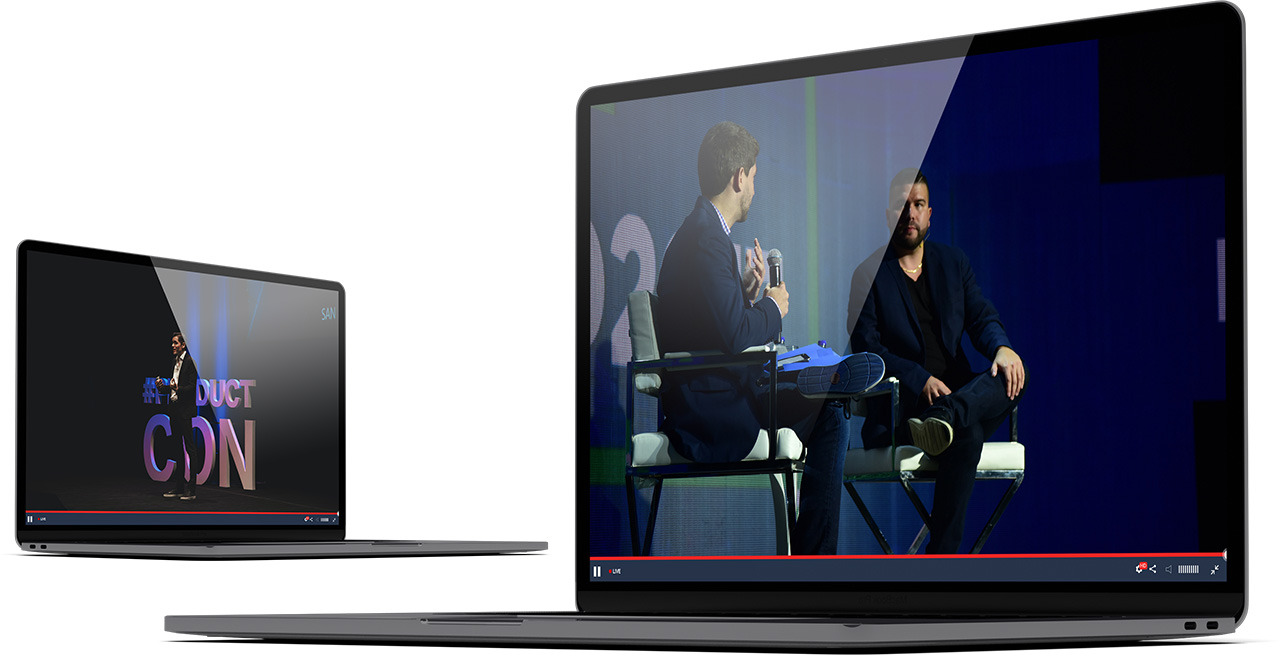 Two laptops showing two different live streams occurring simultaneously.