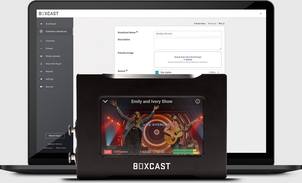 BoxCaster Pro placed in front of a laptop with
