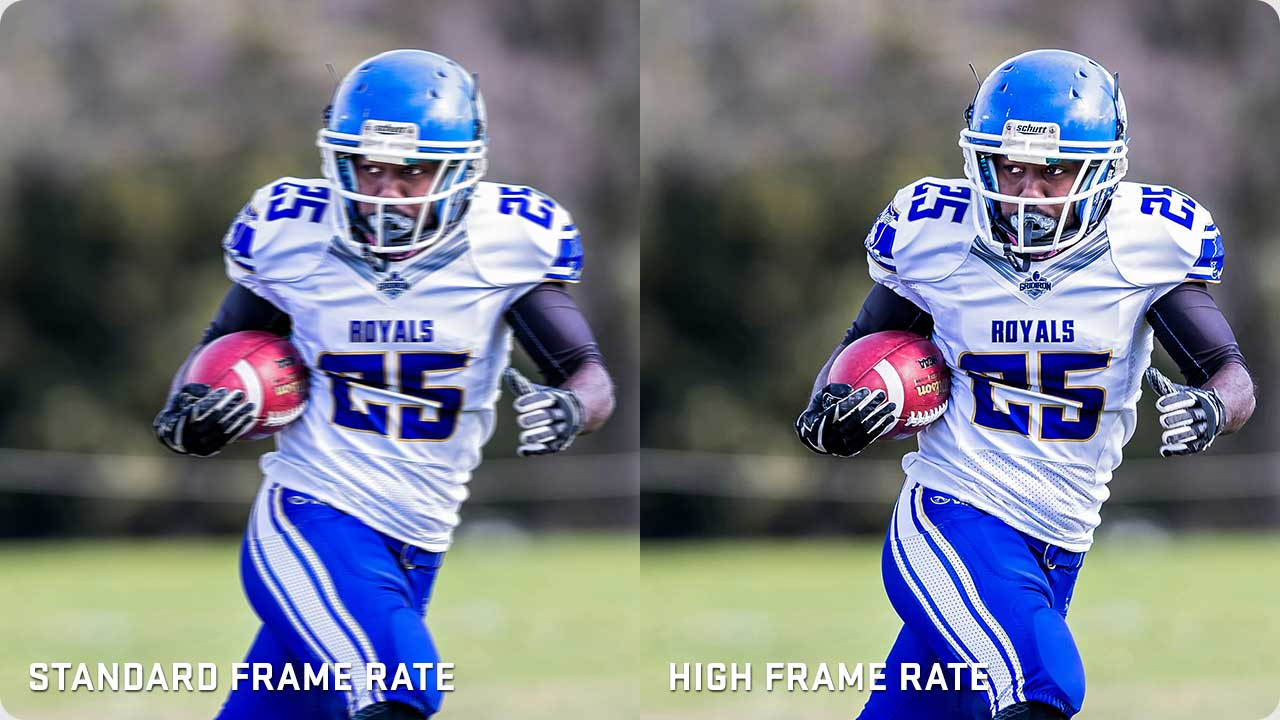2 photos of a Running Back. One showing lower frame rate, one showing high frame rate