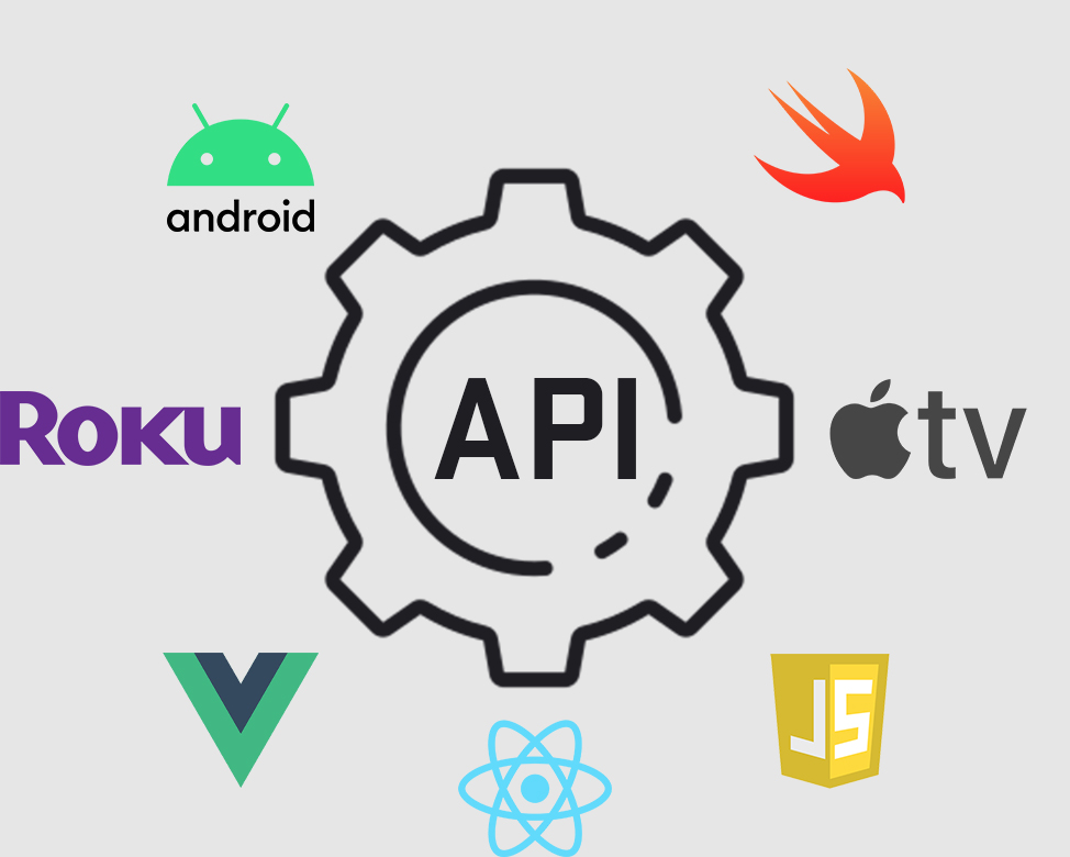 Illustration of a gear with the Android icon, Roku icon, Vue.js icon, React icon, Java Script icon, Apple Tv icon, and Swift Icon