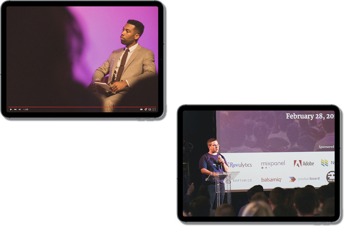 Two iPads displaying different live streams occurring simultaneously