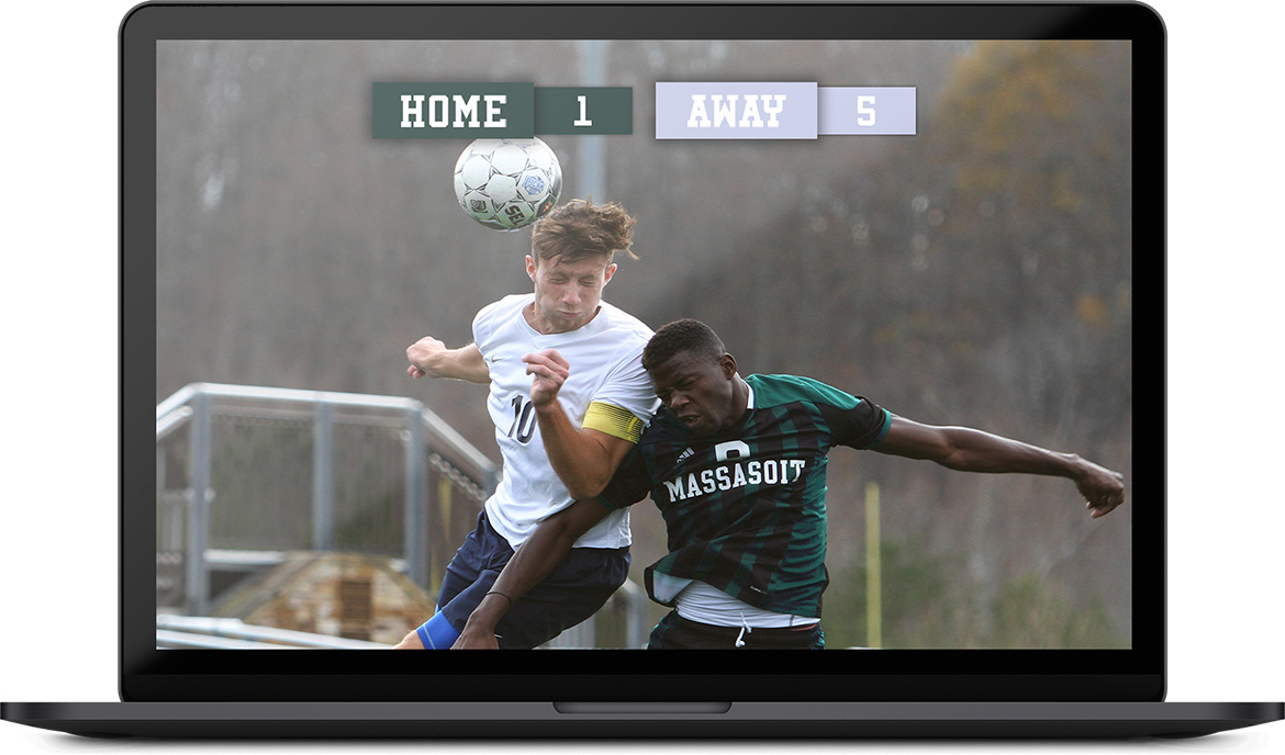 Image of a soccer game being played. The scoreboard is displayed on the stream