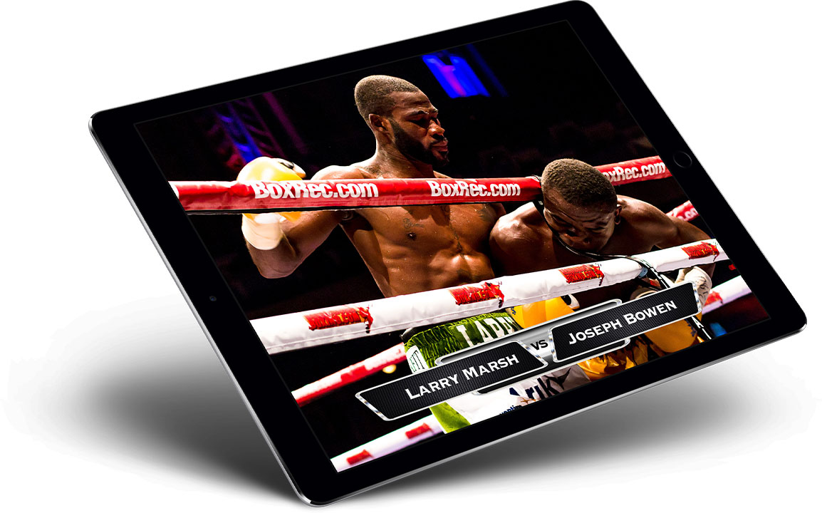 iPad showing a live streamed boxing match that uses graphic overalys