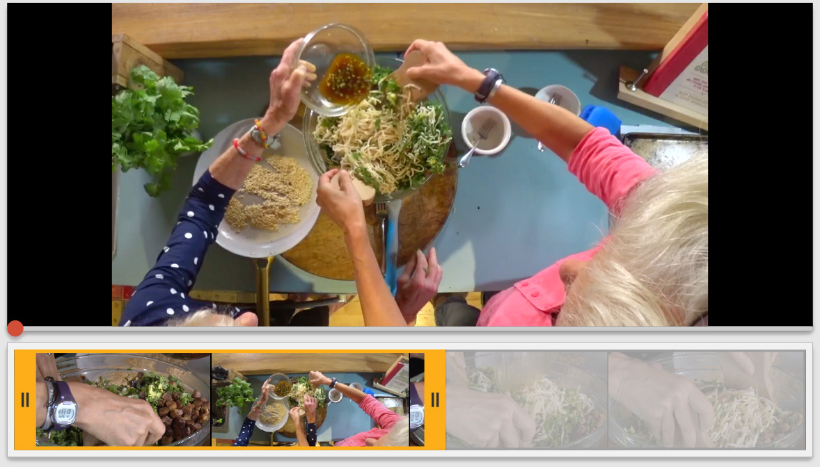 Graphic depicting highlight clipping for a cooking show