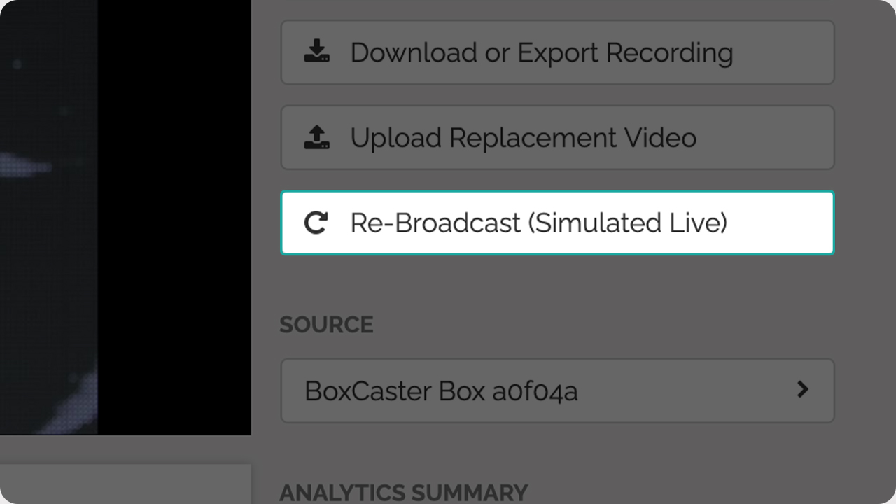 A photo of the BoxCast Dashboard highlighting the