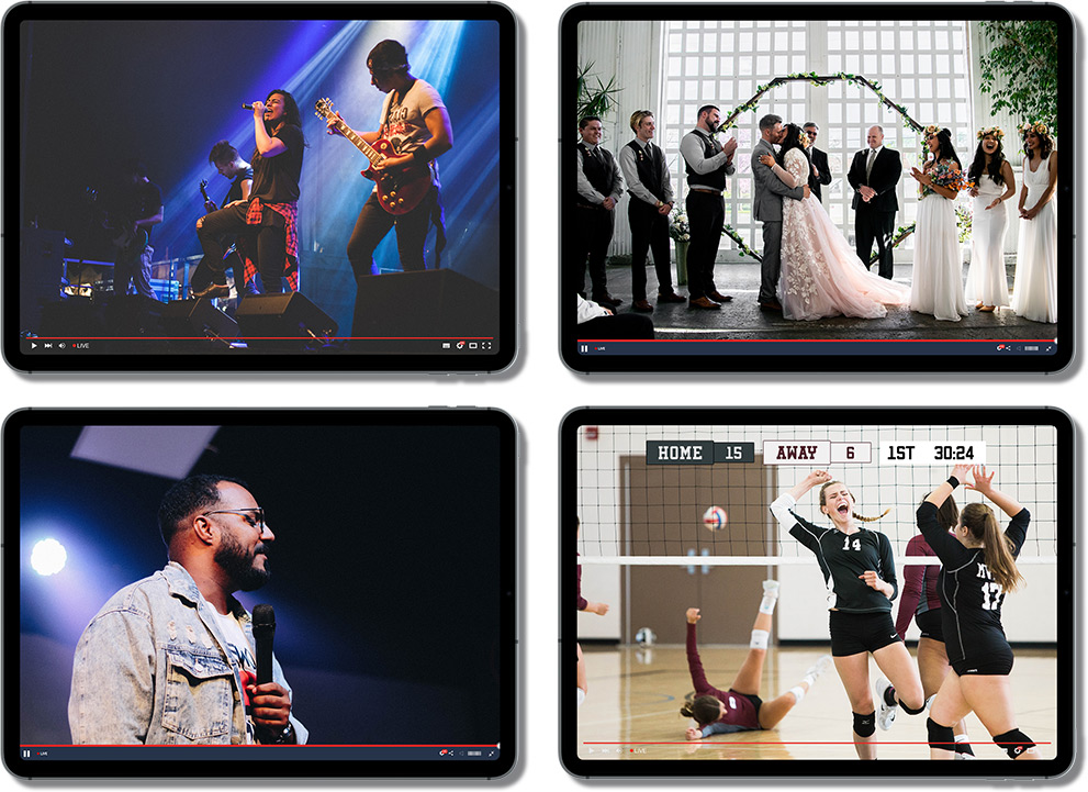 4 iPads showing 4 different streams occurring simultaneously