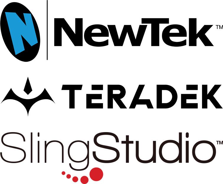 NewTek logom Teradek logo, SlingStudio logo