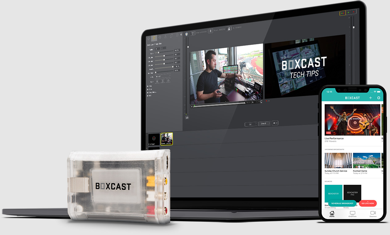 BoxCaster, Photo of iPhone using Broadcaster App, Laptop using Wirecast