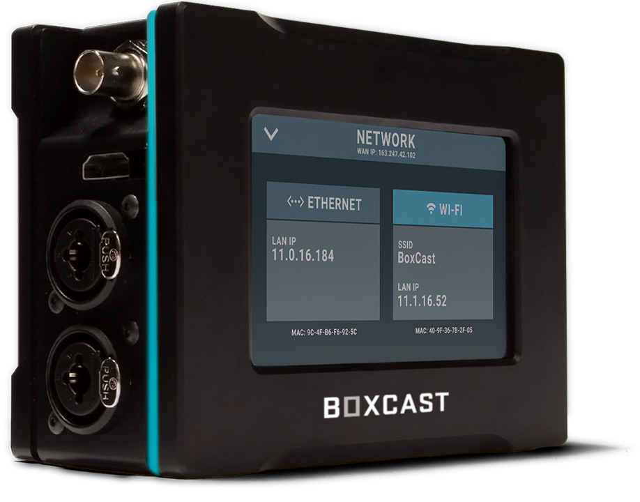 Three quarters view of BoxCaster Pro showing the Network Status Monitoring Screen